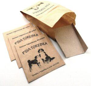 papierowe torebki na psie odchody Psia Torebka z łopatką