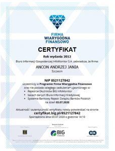Certyfikat finansowy BIG